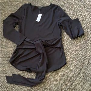 NWT Ann Taylor black top with tie